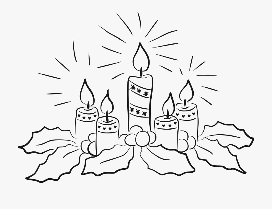 Christmas Candle Clipart Black And White.