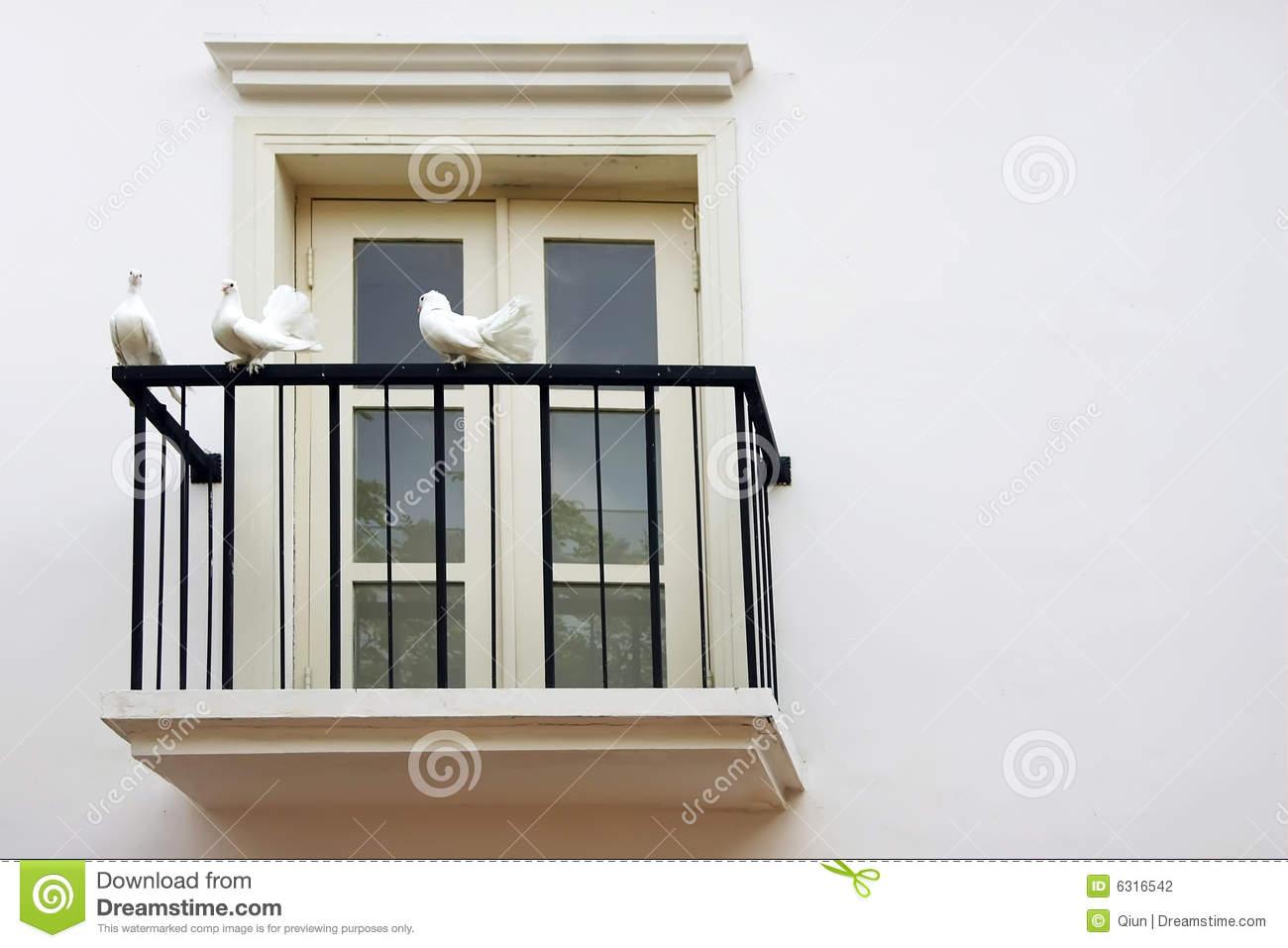 Balconies Window Clip Art, Three Dove At Balcony Windows Stock.