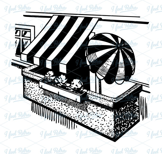 Retro Clipart: Balcony with awnings.