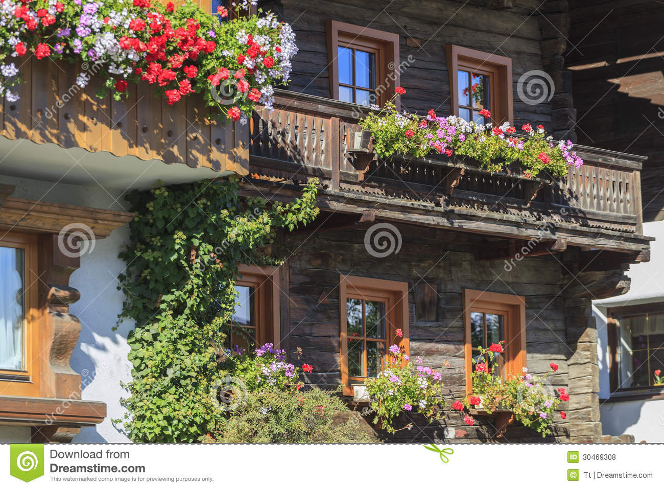 Balcony With Flower Boxes Royalty Free Stock Photos.