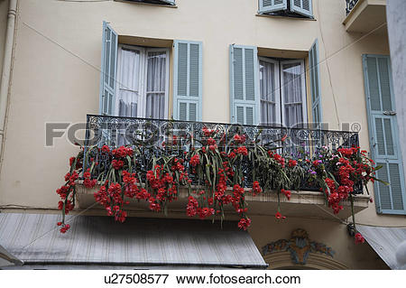 Picture of House with window box with red summer flowers on a.