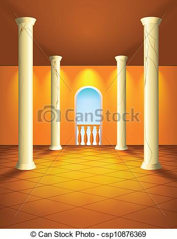 Clip Art Vector of Hall with columns and balcony.