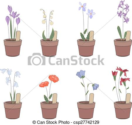 Vector Illustration of Flower pots with flowers.