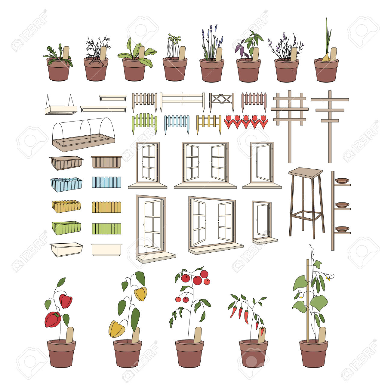 Flower Pots With Herbs And Vegetables. Gardening Tools. Plants.