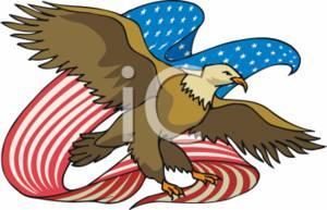 Clipart Image of a Patriotic Bald Eagle.