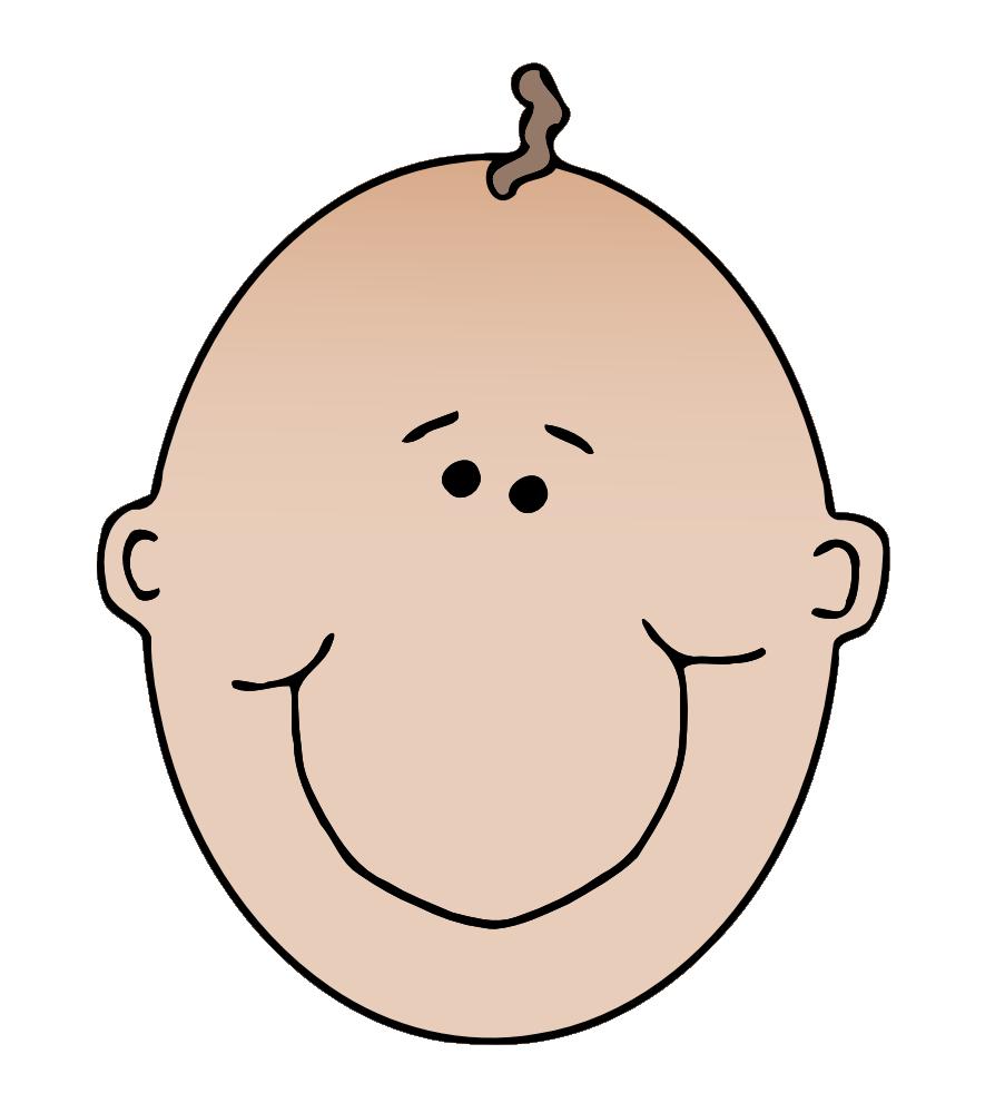 Baby bald head clipart.