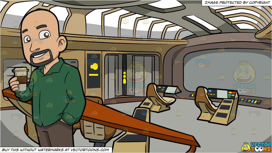 clipart #cartoon A Bald Guy Drinking Coffee and Spaceship.