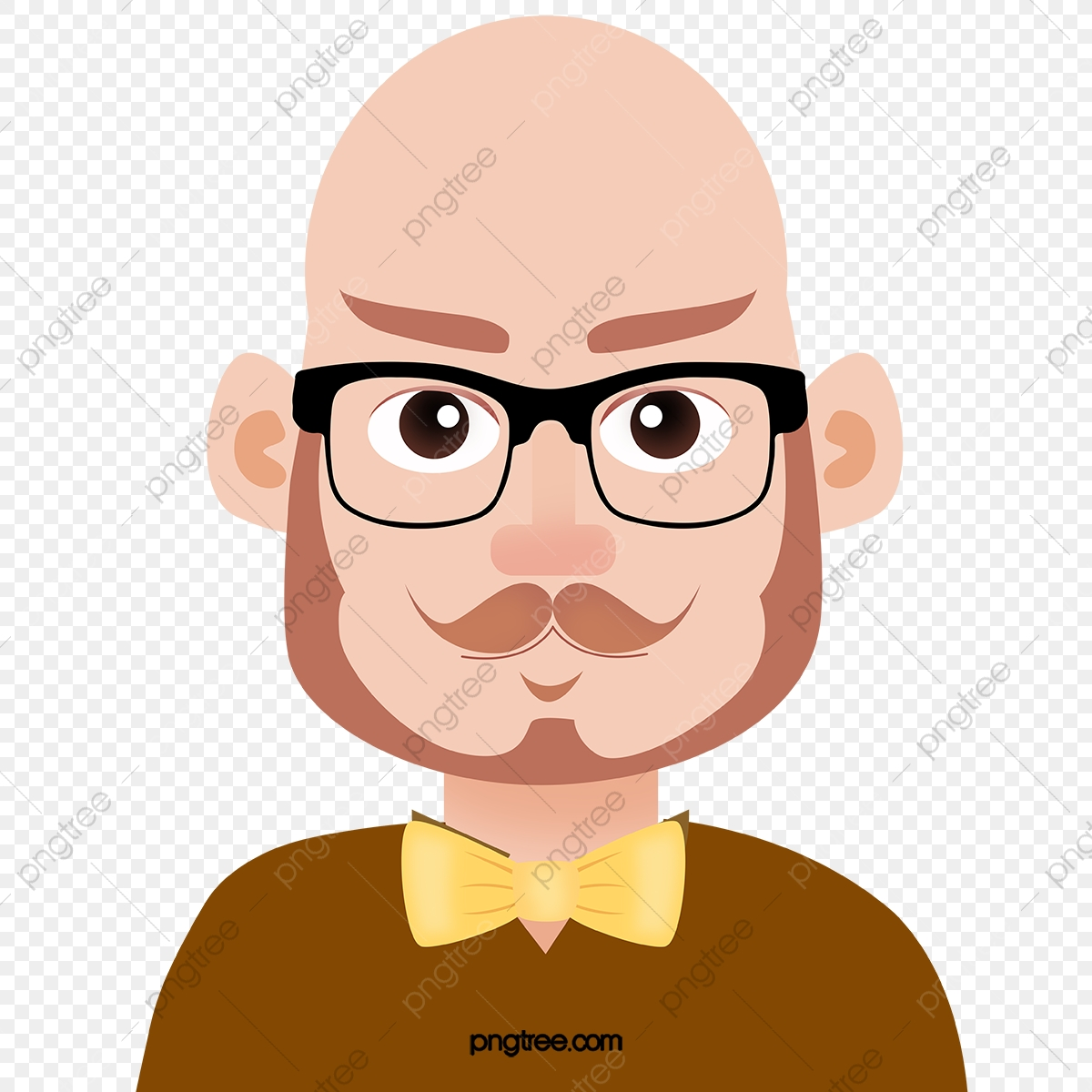 Bald Man Vector, Glasses, Cartoon, Character PNG and Vector with.