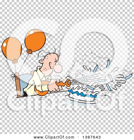 Clipart of a Cartoon Bald Senior White Man Blowing out His.