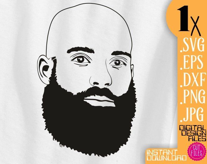 Beard Black Afro Man svg bald man clipart short beard file.
