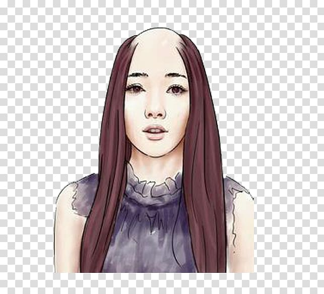 Long hair Woman Hair loss Capelli, Bald long hair woman hand.