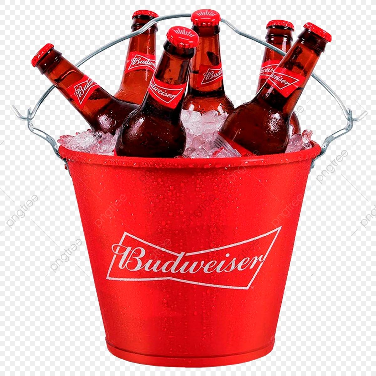 Balde Budweiser, Png, Balde, Long Neck PNG Transparent Clipart Image.