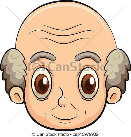 Bald beard light skinned man clipart.