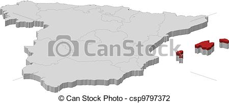 Vector Illustration of Map of Spain, Balearic Islands highlighted.