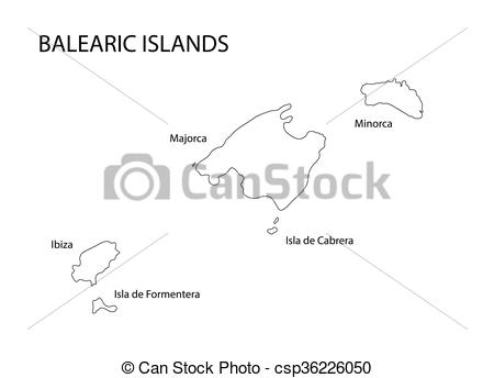 Clipart Vector of black outline of Balearic Islands map.