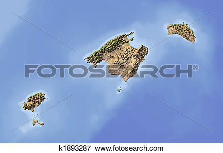 Stock Illustration of Balearic Islands, shaded relief map k1893287.