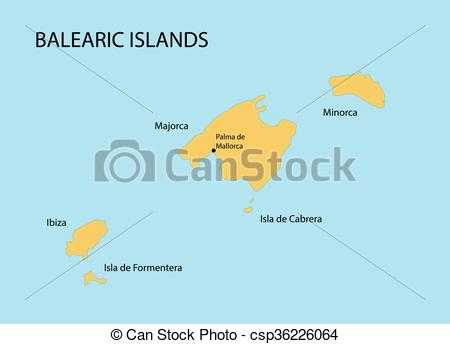 Clip Art Vector of Balearic Islands map with indication of Palma.