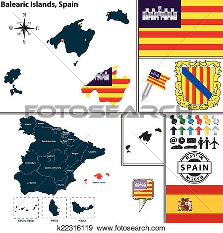 Clip Art of Map of Balearic Islands, Spain k22316119.