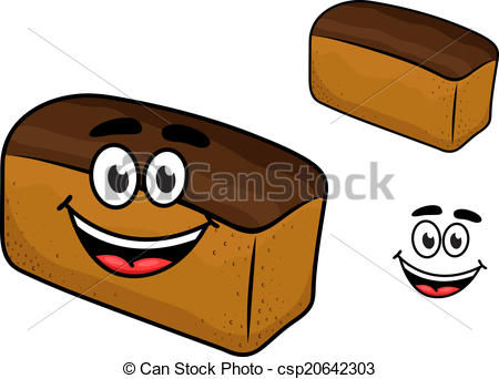 Vector Clipart of Freshly baled smiling loaf of brown bread with a.