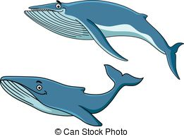 EPS Vectors of Big blue baleen whale swimming through the sea.