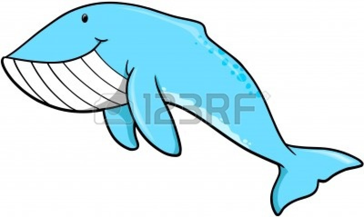 Whimsical Whale Clipart.