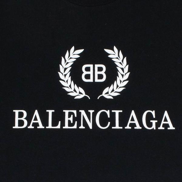 Balenciaga BB Crest Logo Black White T Shirt.