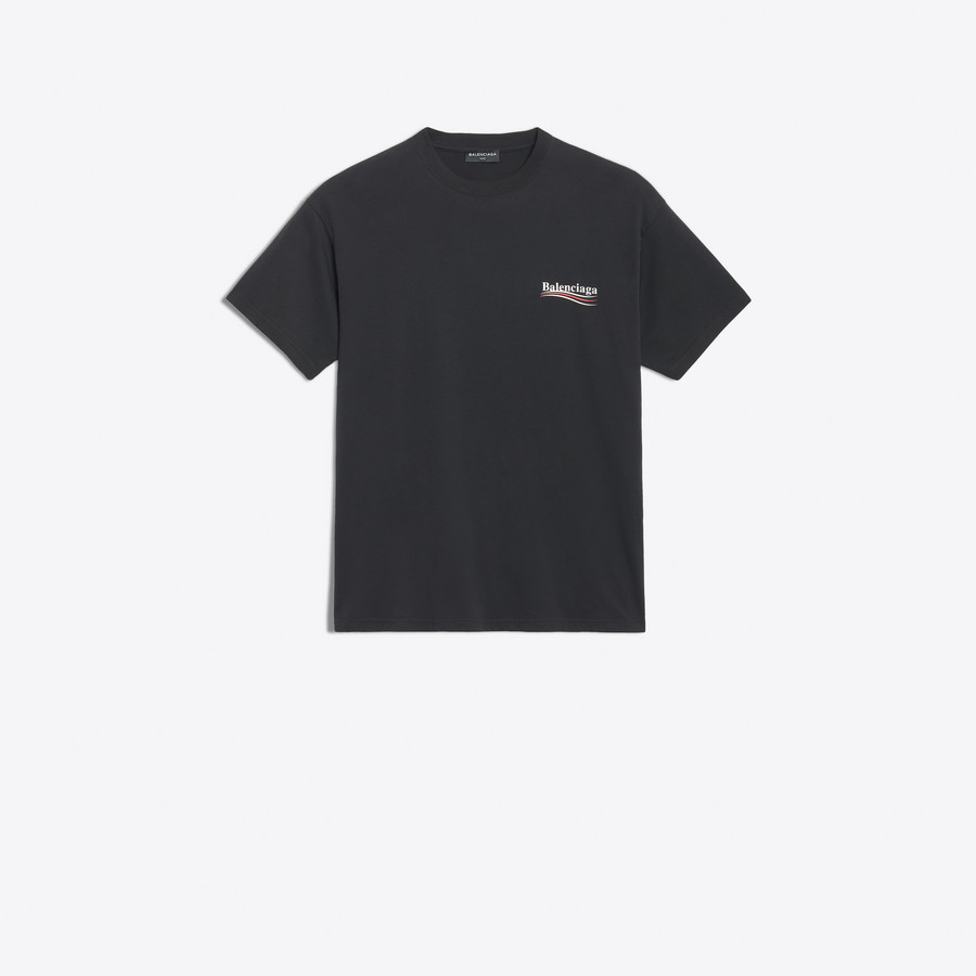 Oversized Balenciaga Logo Printed T Shirt Black for Men.
