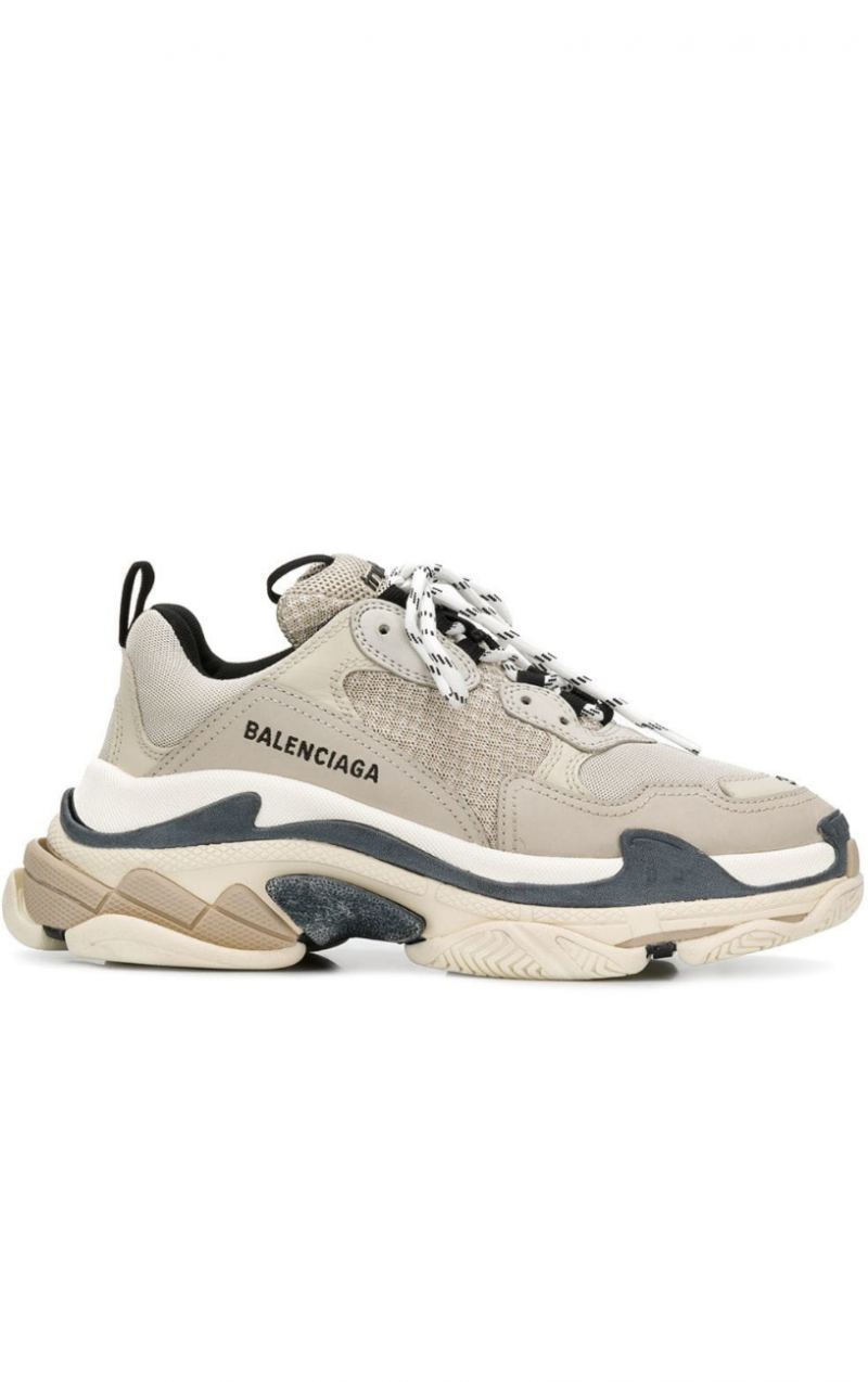 Beige & Black Triple S Sneakers.