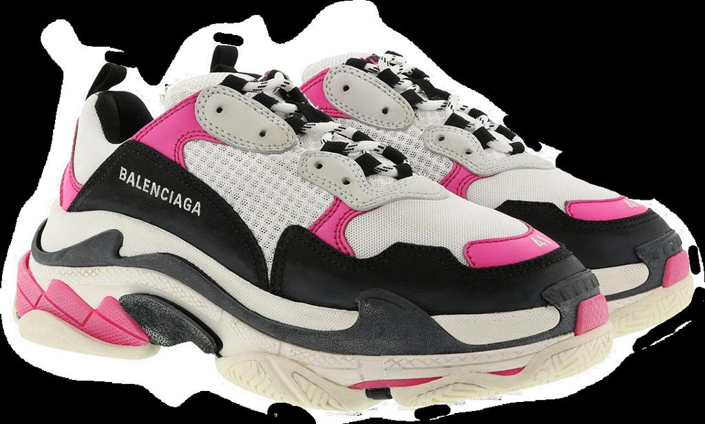 black pink white chunky sneakers shoes balenciaga sport.