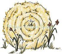 Round hay bales clipart.