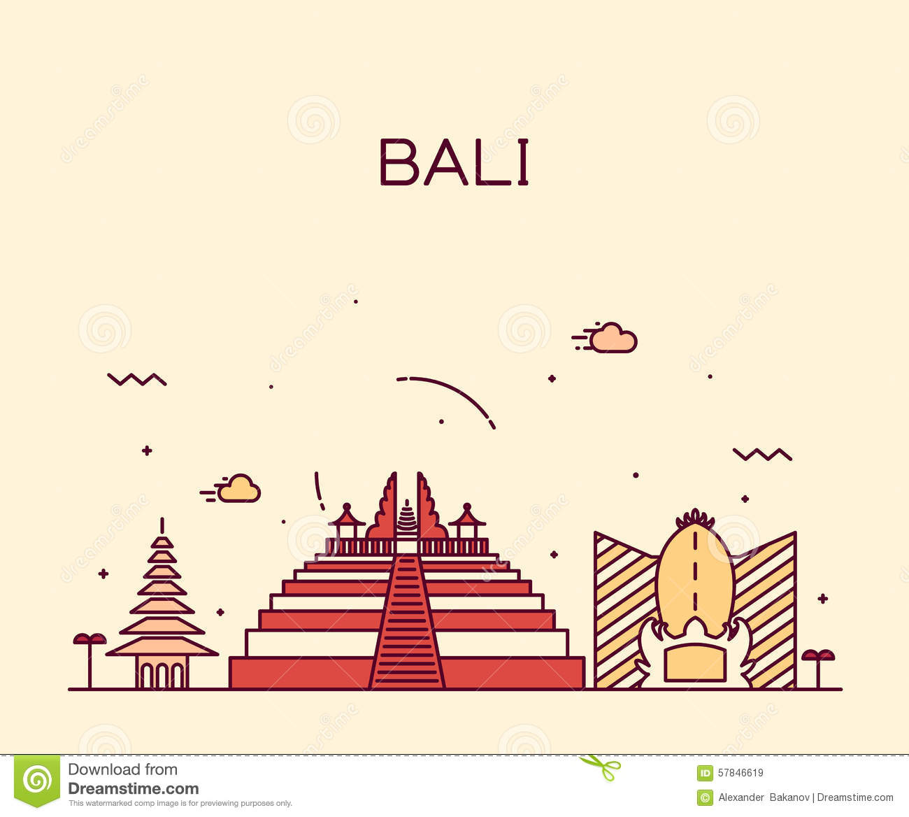 Indonesia Bali Architecture Stock Illustrations.