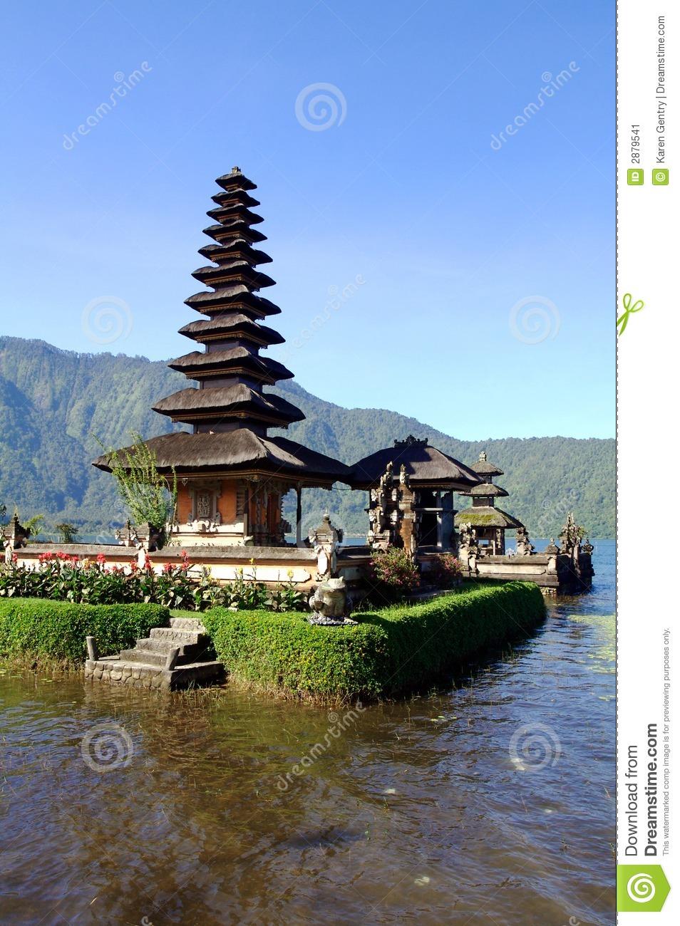 Bali Water Temple Vertical Stock Image.