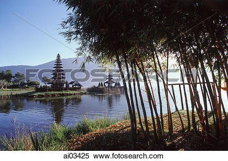 Stock Image of Indonesia, Bali, Bedugal, Lake Bratan, Pura Ulun.