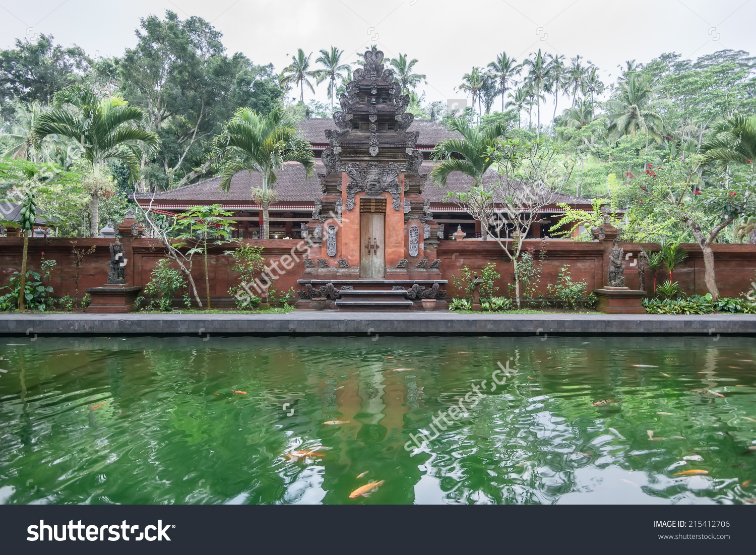 Scene Holy Spring Water Temple Bali Stock Photo 215412706.