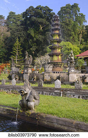 "Stock Photography of ""Fountains and water basins at the Tirta."