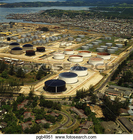 Stock Photography of Oil refinery tank farm. Balikpapan.