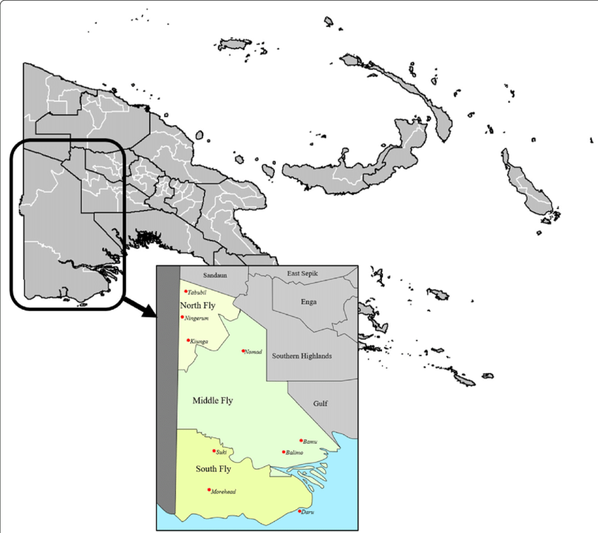Papua New Guinea, showing Western Province, and Balimo in the Middle.