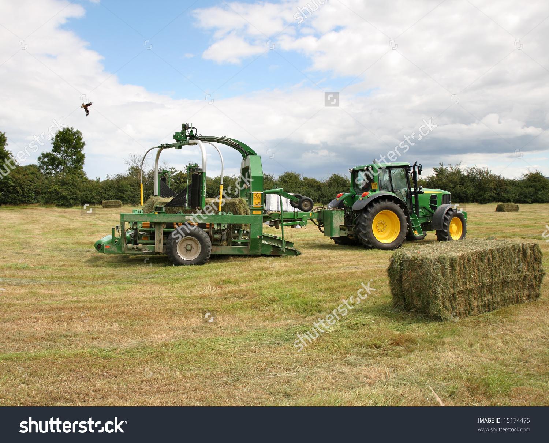 Tractor Baling Machine Baling Hay Rural Stock Photo 15174475.