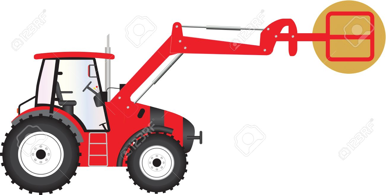 A Red Farm Tractor Carrying A Bale Of Hay Royalty Free Cliparts.