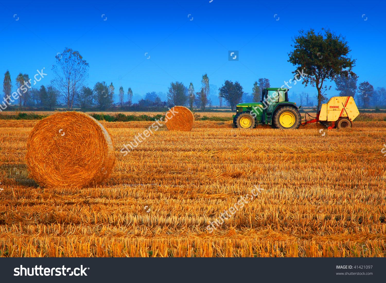 Rice Field Tractor Baling Machine Hay Stock Photo 41421097.