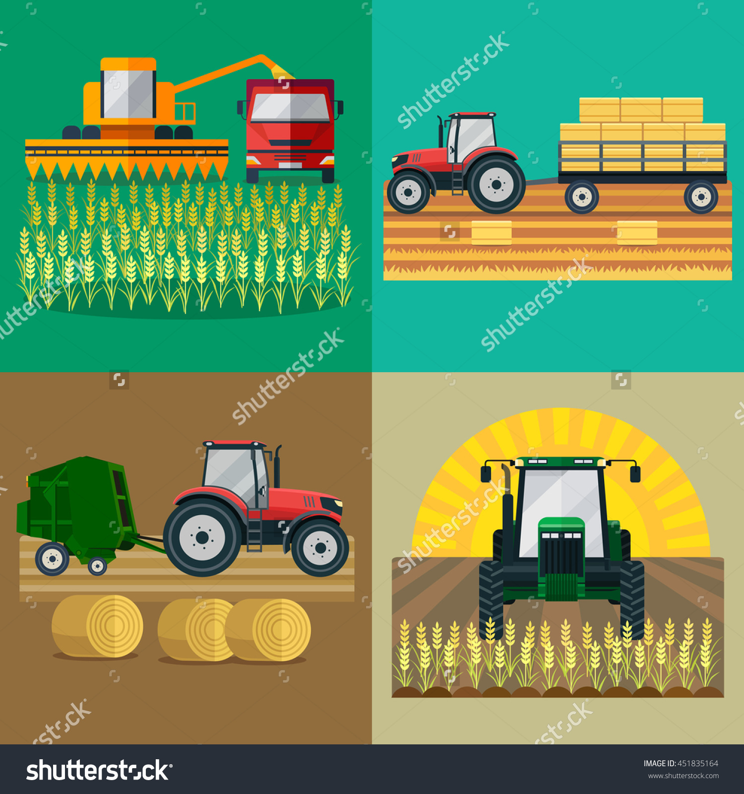 Tractor Trailer Loaded Bales Hay Round Stock Vector 451835164.