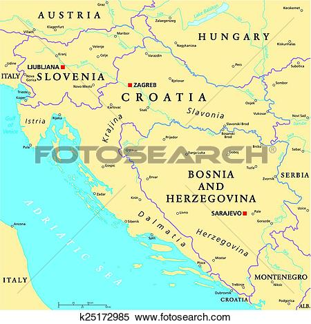 Clipart of West Balkan Political Map k25172985.
