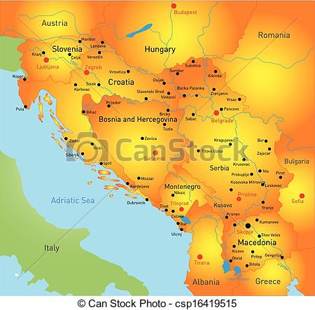Vector Clip Art of Balkan map.