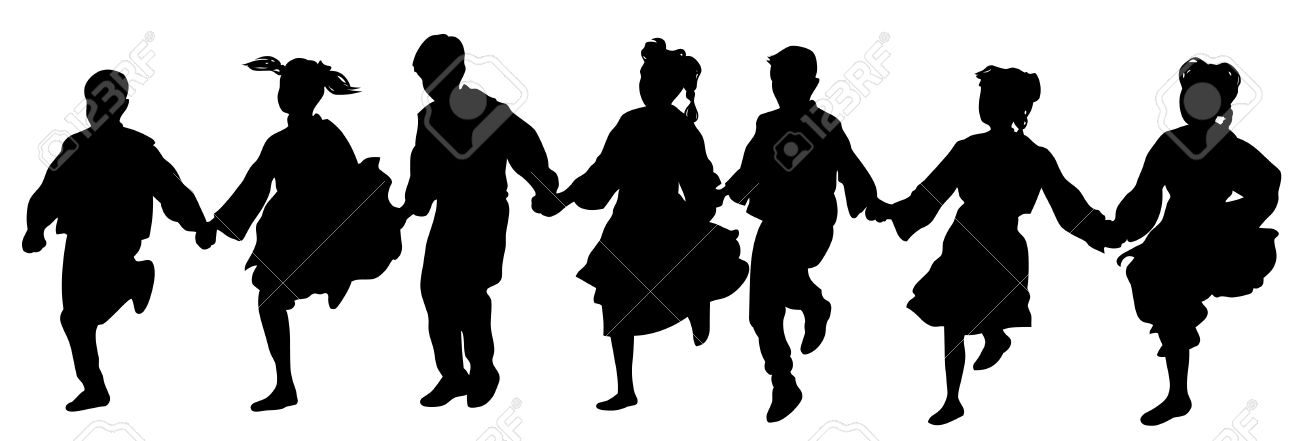 A Several Balkan Dancers Silhouette Style Drawing Royalty Free.
