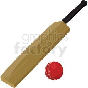 cricket bat and ball vector clipart no background . Royalty.