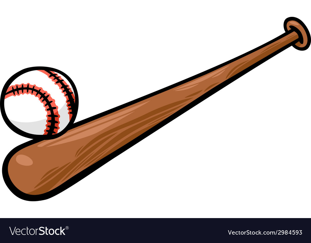 Baseball ball and bat cartoon clip art.