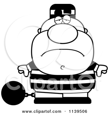 Cartoon Clipart Of A Black And White Mad Prisoner With A Ball And.