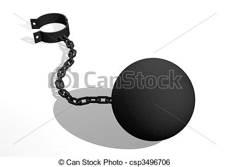 Stock Illustration of Ball and chain.