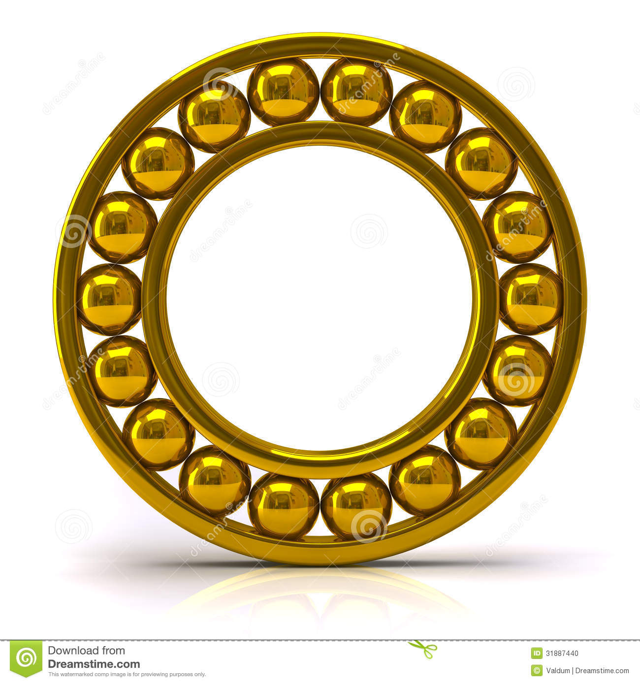 Golden Ball Bearing Stock Photo.