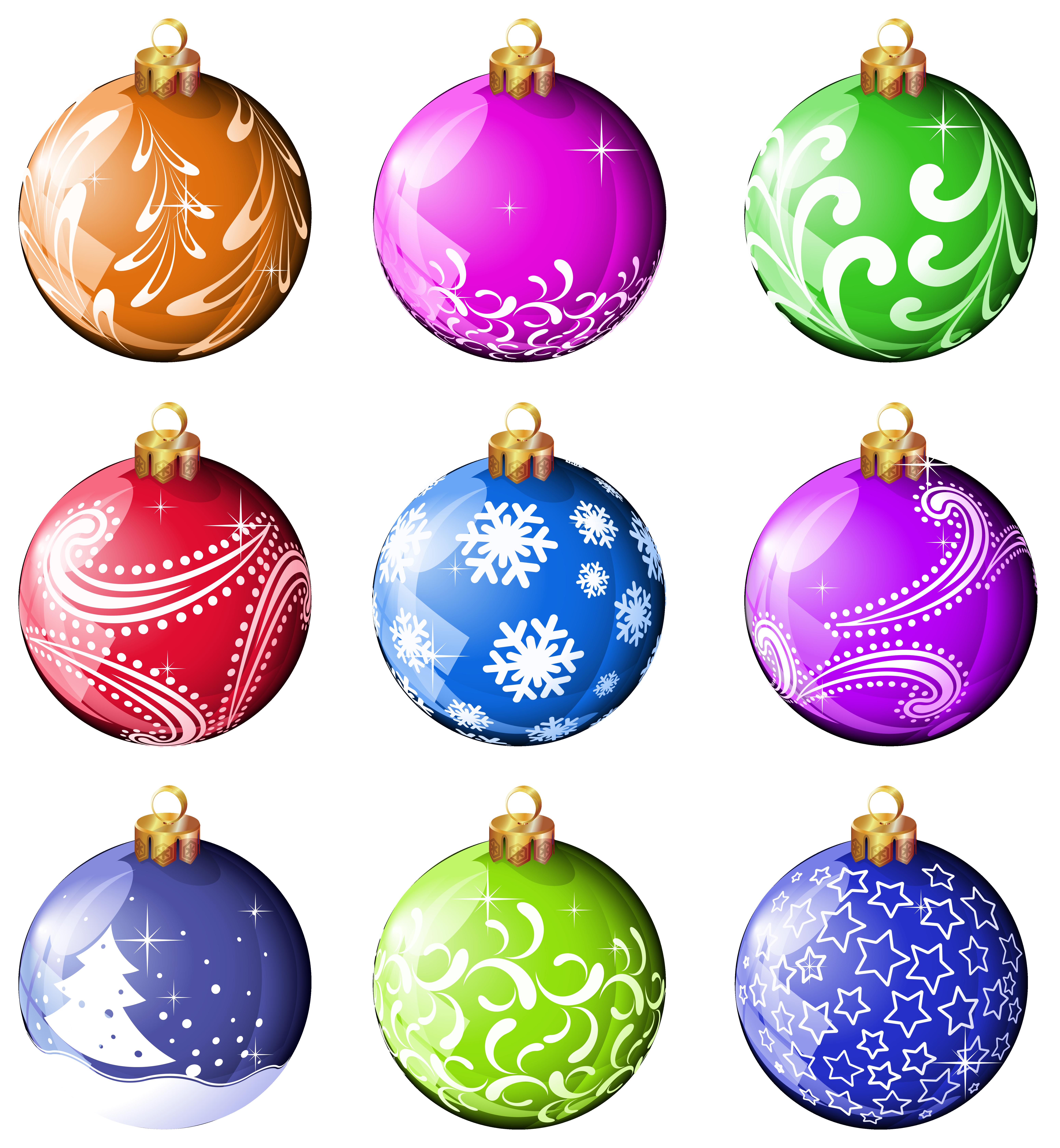 Christmas bulb ornaments clipart.